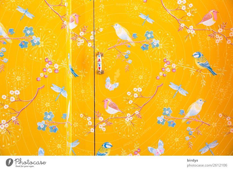 Wanddekoration fliegende Freunde blau Farbe schön weiß ruhig Lifestyle gelb Innenarchitektur Glück Stil Kunst Mauer Vogel rosa Häusliches Leben