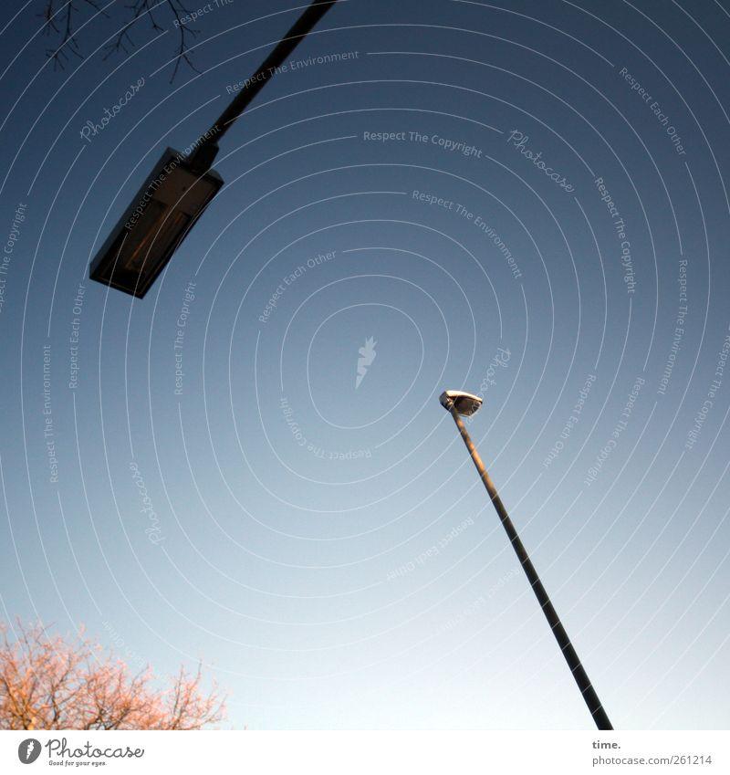 Bereitschaftsdienst Himmel alt blau Stadt Baum Umwelt Perspektive Ast Schönes Wetter Konzentration diagonal skurril Straßenbeleuchtung Partnerschaft Surrealismus Fortschritt