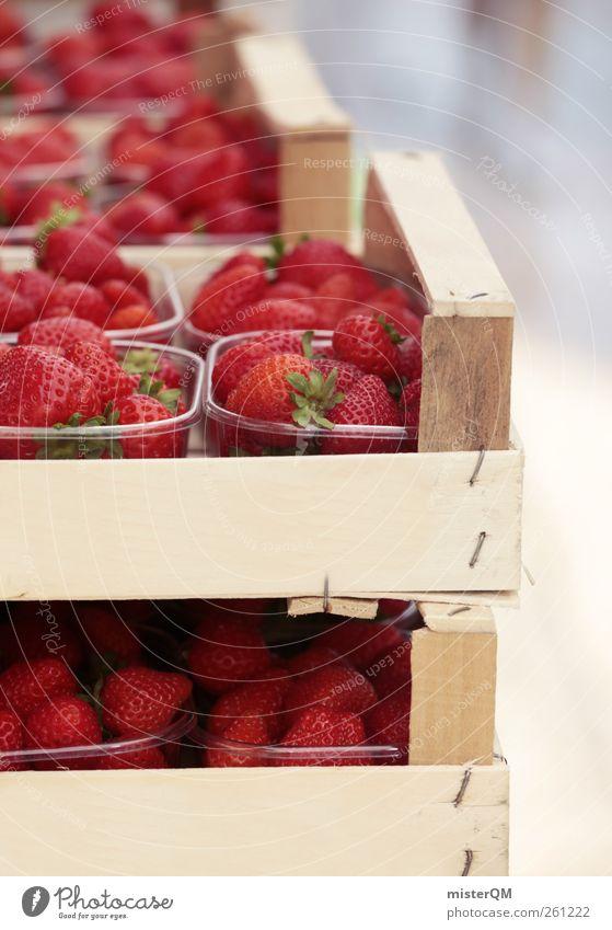 Probier mal, komm ruhig näher! Lebensmittel ästhetisch Erdbeeren Erdbeersorten Erdbeerjoghurt lecker Gesunde Ernährung Süßwaren Schalen & Schüsseln Kiste Markt