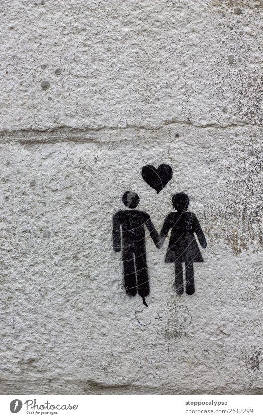 Glückliches Paar auf Mauer Kunst Kunstwerk Stadtzentrum Wand Dekoration & Verzierung Stein Zeichen Graffiti ästhetisch lustig Gefühle Liebe Verliebtheit