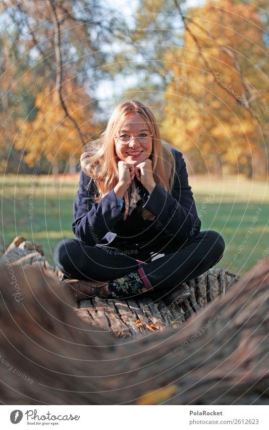 #A# HerbstLächeln 1 Mensch ästhetisch sitzen herbstlich Herbstlaub Herbstfärbung Herbstbeginn Herbstwald Herbstwetter Herbstlandschaft Frau Baumstamm lachen