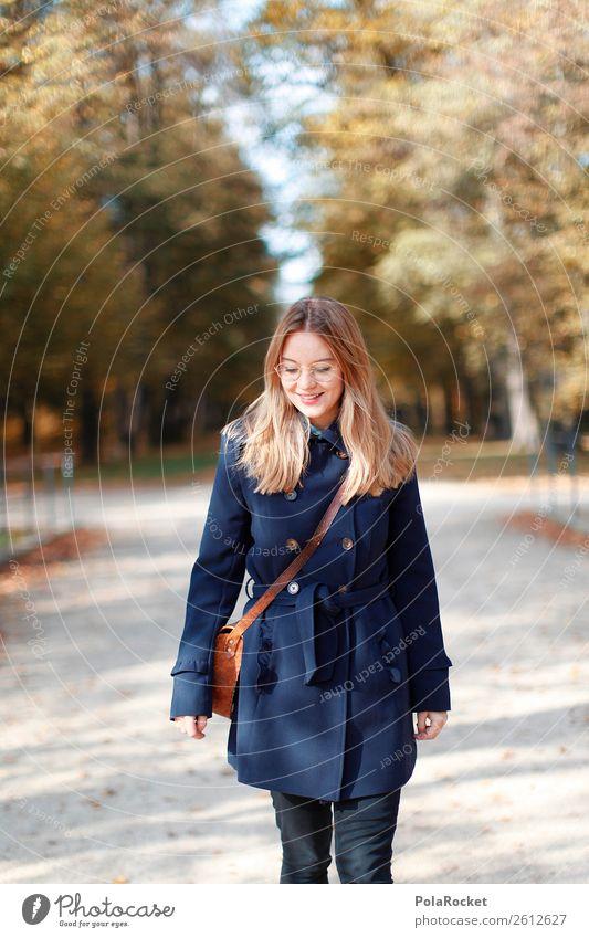 #A# HerbstSonne Frau Natur Erholung Kunst Mode Park ästhetisch laufen Spaziergang Jahreszeiten Model Herbstlaub herbstlich Mantel Herbstfärbung