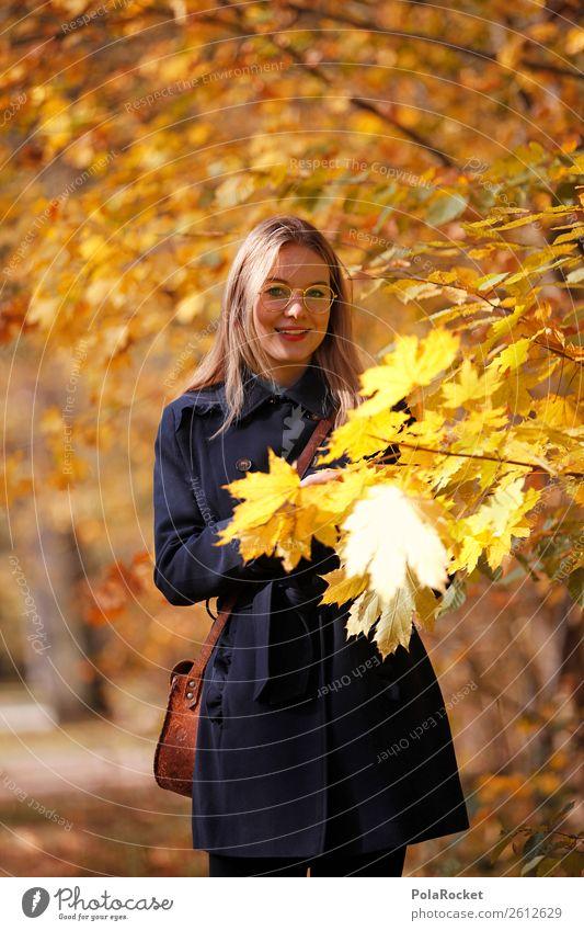 #A# Herbst-Gold Kunst Kunstwerk ästhetisch herbstlich Herbstlaub Herbstfärbung Herbstbeginn Herbstwald Herbstwetter Herbstlandschaft Frau Außenaufnahme Mantel
