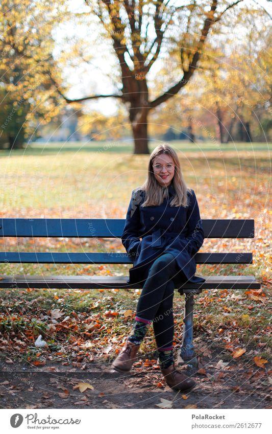 #A# Herbst-Bank Kunst Kunstwerk ästhetisch herbstlich Herbstlaub Herbstfärbung Herbstbeginn Herbstwetter sitzen Außenaufnahme Schönes Wetter Frau Park Erholung
