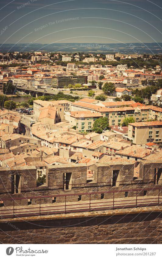 Carcassonne XIII alt Stadt rot Ferien & Urlaub & Reisen Haus Ferne Architektur Freiheit Wärme Stein Gebäude Horizont Ausflug Abenteuer Häusliches Leben Dach