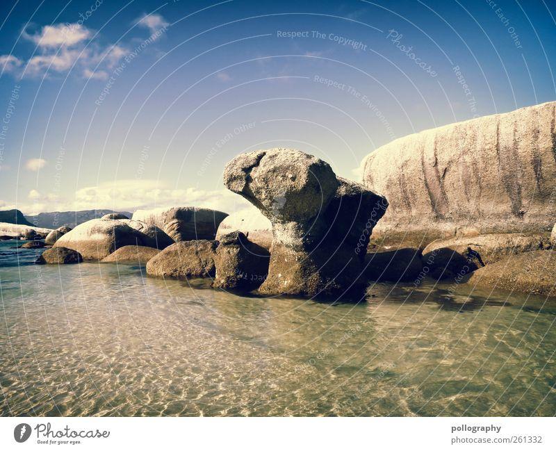 blue lagoon Ferien & Urlaub & Reisen Ausflug Ferne Freiheit Sommerurlaub Umwelt Natur Landschaft Wasser Himmel Wolken Wetter Schönes Wetter Hügel Felsen Wellen