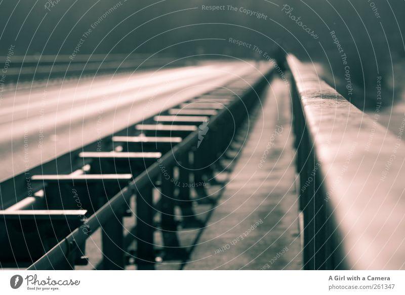 beyond me Verkehrswege Straße Wege & Pfade Leitplanke Unendlichkeit lang diagonal Linie Fahrbahn Spaziergang Geländer Schutz Gedeckte Farben Außenaufnahme