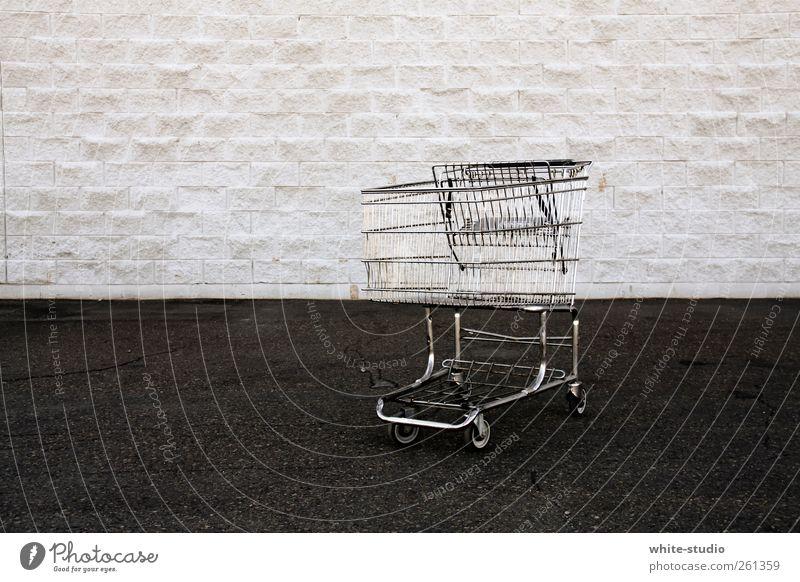 There's nothing in my trolley kaufen Stein trashig trist Reichtum Kapitalismus Konsum Konsumgesellschaft Einkaufswagen Armut Straßenbelag Obdachlose obdachlos