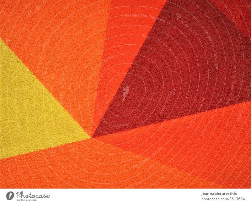 Orange Design Kunst Sonne Mauer Wand leuchten Wärme gelb orange rot Geometrie Farbfoto abstrakt Muster Strukturen & Formen