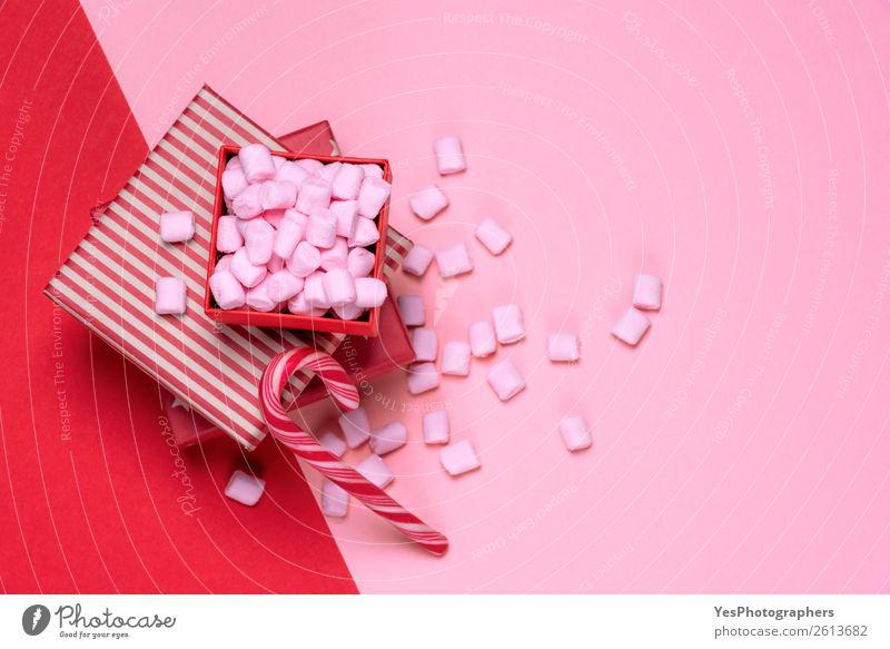 Weihnachten & Advent weiß rot Feste & Feiern klein Textfreiraum rosa Geschenk Postkarte Tradition Dessert Stapel Zuckerstange