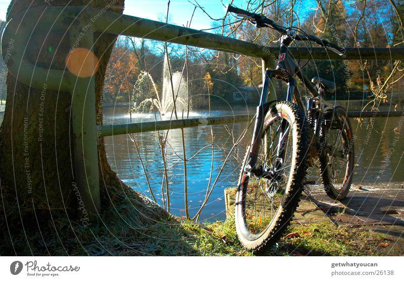 Im Park geparkt Teil2 Fahrrad See schön Licht Baum Brunnen Wald schwarz Herbst Extremsport Sonne Küste Downhill Geländer Himmel