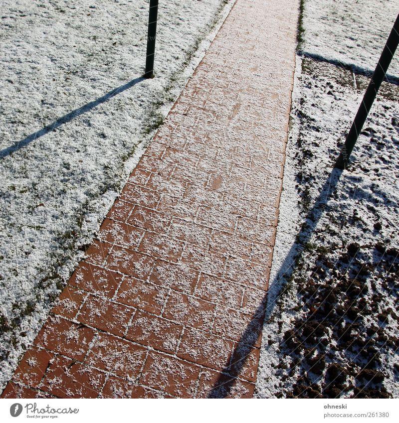 Schräg Winter Schönes Wetter Eis Frost Schnee Garten Wiese Feld Menschenleer Wege & Pfade Pflastersteine Pflasterweg Stein Linie kalt Farbfoto Außenaufnahme