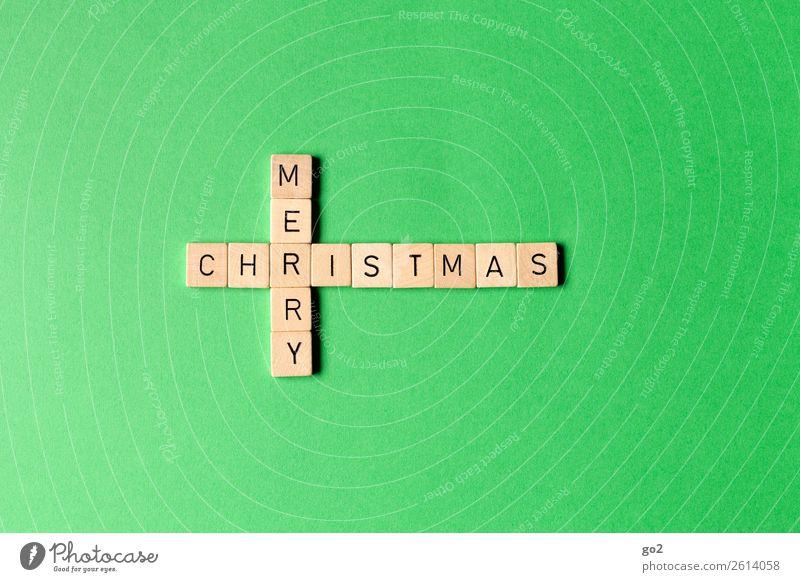 Merry Christmas auf Grün Freizeit & Hobby Spielen Brettspiel Weihnachten & Advent Dekoration & Verzierung Holz Schriftzeichen ästhetisch Fröhlichkeit grün