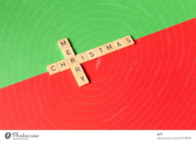 Merry Christmas Spielen Brettspiel Weihnachten & Advent Dekoration & Verzierung Holz Zeichen Schriftzeichen ästhetisch einzigartig grün rot Gefühle Glück
