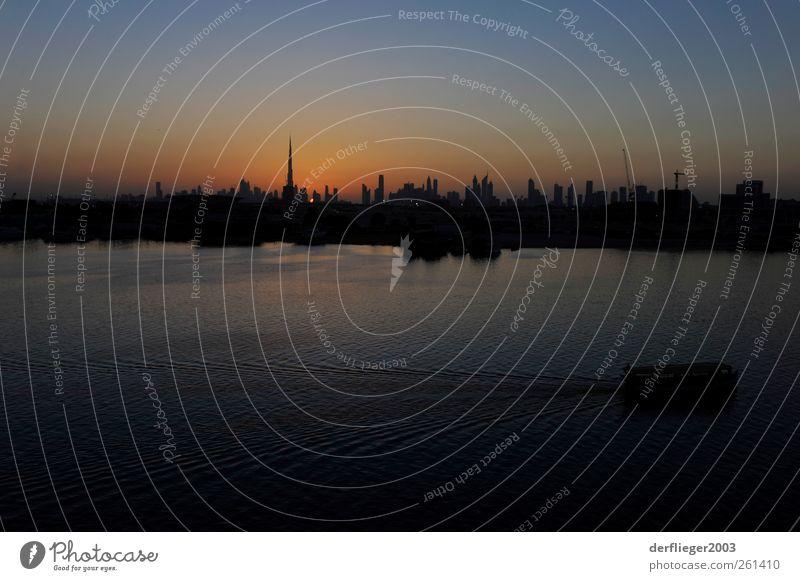 Sunset in Dubai Ferien & Urlaub & Reisen blau Sonne Ferne gelb Lifestyle Tourismus Freizeit & Hobby Hochhaus beobachten Skyline Wolkenloser Himmel