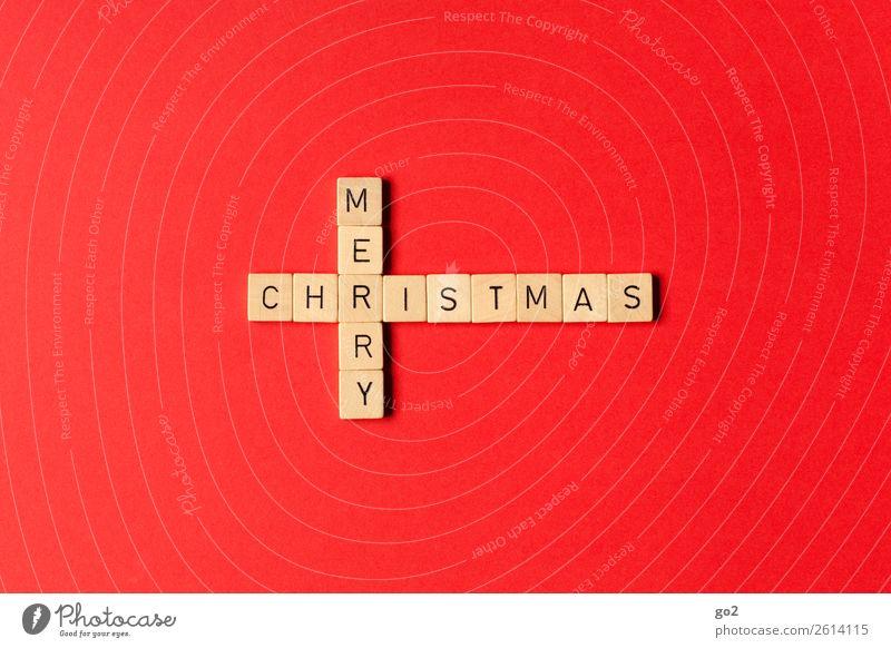 Merry Christmas Freizeit & Hobby Spielen Brettspiel Weihnachten & Advent Dekoration & Verzierung Holz Zeichen Schriftzeichen Kreuz ästhetisch rot Glück