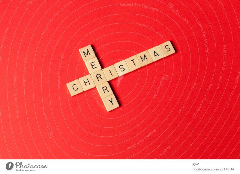 Merry Christmas Weihnachten & Advent rot Freude Holz Religion & Glaube Gefühle Glück Spielen Zufriedenheit Dekoration & Verzierung Schriftzeichen ästhetisch
