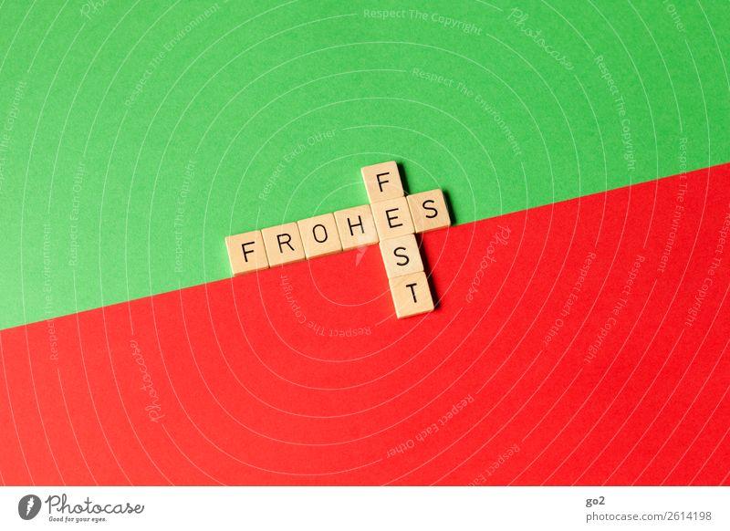 Frohes Fest Spielen Brettspiel Feste & Feiern Weihnachten & Advent Papier Dekoration & Verzierung Holz Schriftzeichen ästhetisch grün rot Gefühle Glück