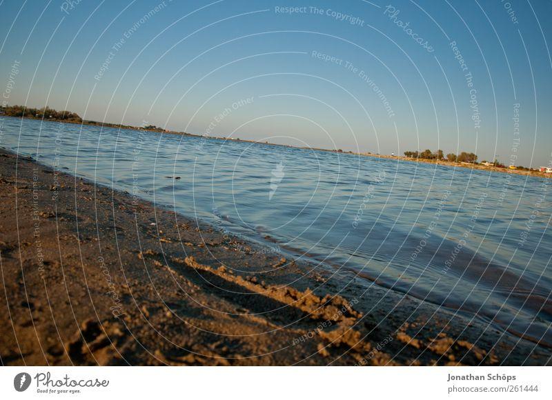 Das Schrägmeer Himmel blau Wasser Ferien & Urlaub & Reisen Sommer Meer Strand Ferne Erholung Umwelt Landschaft Freiheit Sand Horizont Zufriedenheit