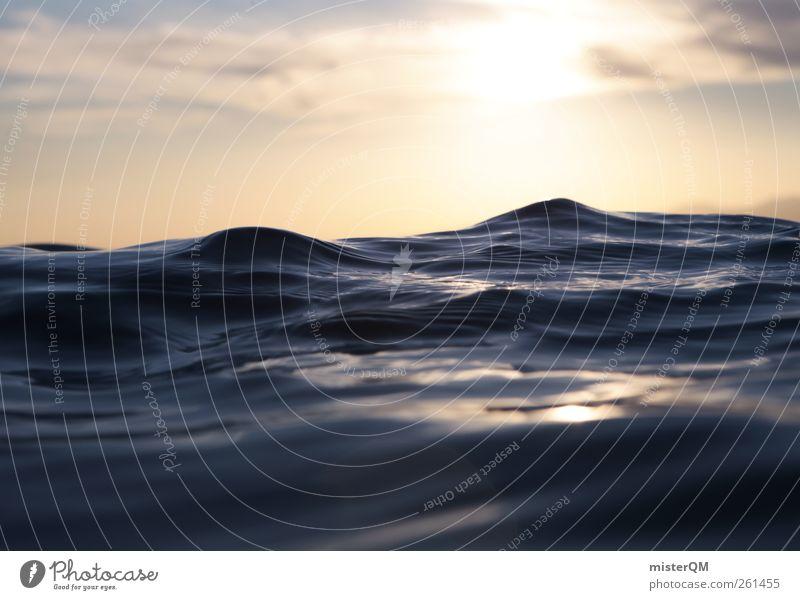 Liquid Mountains. Himmel Natur Ferien & Urlaub & Reisen blau schön Wasser Sonne Meer Kunst Horizont Zufriedenheit Wellen Idylle ästhetisch Perspektive nass