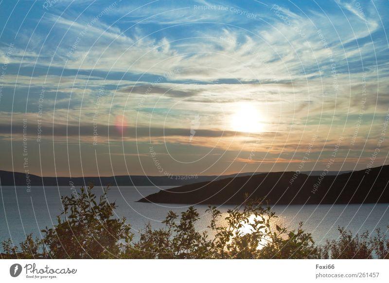 Sonnenuntergang in Norwegen Himmel Natur blau Wasser grün Ferien & Urlaub & Reisen Meer Wolken Einsamkeit Ferne Liebe gelb Landschaft Gefühle grau