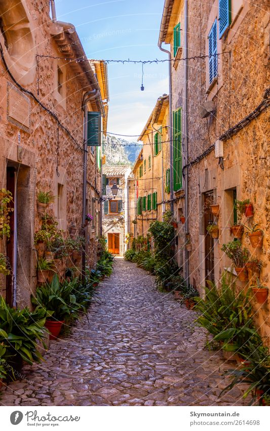 Valldemossa, Mallorca, Spanien Ferien & Urlaub & Reisen blau grün Freude Fenster Wand Gefühle Glück Gebäude Mauer braun Fassade Stimmung Zufriedenheit Europa