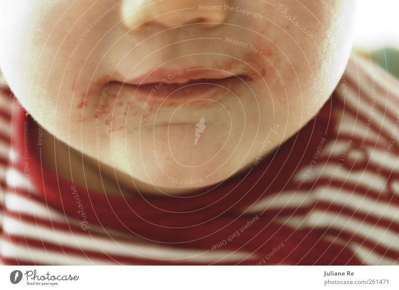 Yummie! | Lecker! Mensch Kind rot Freude Gesicht Kopf Körper Baby Ernährung Kindheit Haut Lebensmittel dreckig Mund maskulin Beginn