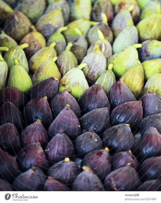 Feigensalat. Lebensmittel ästhetisch viele Auswahl Gesunde Ernährung grün violett Vegetarische Ernährung Frucht lecker Basar aufgereiht ökologisch Bioprodukte