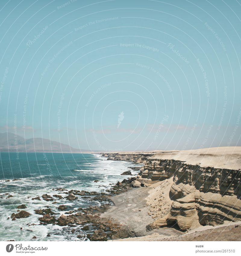 Land küsste Meer Himmel Natur blau Wasser Ferien & Urlaub & Reisen Sommer Ferne Umwelt Landschaft Freiheit Küste Luft Horizont Wellen Felsen