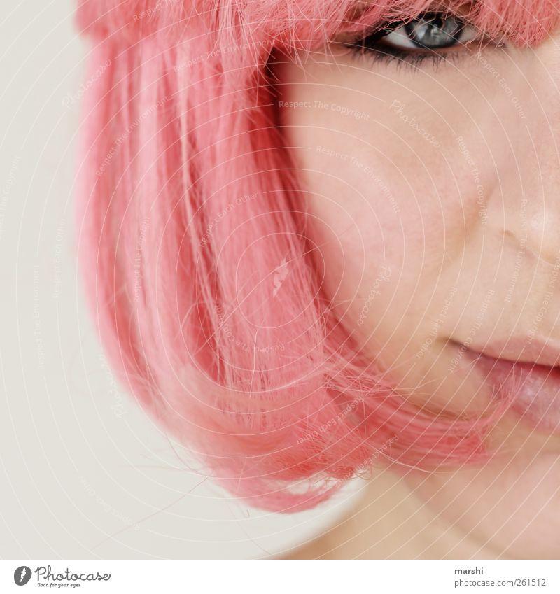 weil ich ein Mädchen... Mensch Frau Jugendliche Freude Erwachsene Auge feminin Gefühle Kopf Haare & Frisuren Stil Stimmung rosa Mund Haut 18-30 Jahre