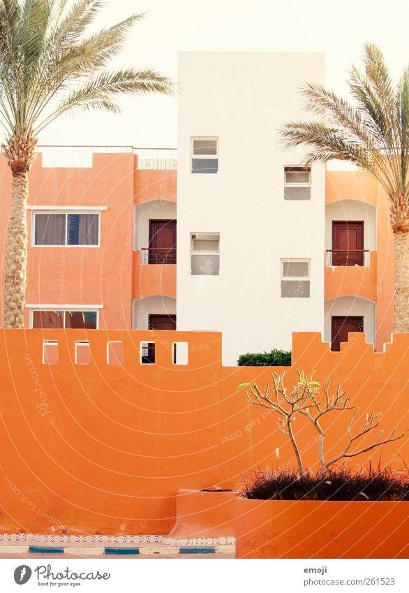 oranje Haus Bauwerk Gebäude Architektur Mauer Wand Fassade Fenster hell Hotel Resort mediterran orange Farbfoto Außenaufnahme Experiment Muster Tag