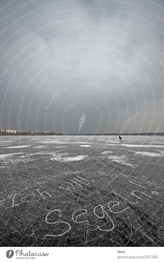 Alstervergnügen Winter kalt Eis Freizeit & Hobby Hamburg Frost Buchstaben Wunsch Symbole & Metaphern gefroren Segeln Wort Glätte Schlittschuhlaufen Wunschvorstellung Alster