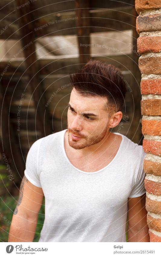 Attraktiver Kerl mit Bart Lifestyle kaufen Design Körper maskulin Mann Erwachsene Straße Mode Bekleidung T-Shirt Hemd Tattoo Vollbart Coolness Erotik trendy