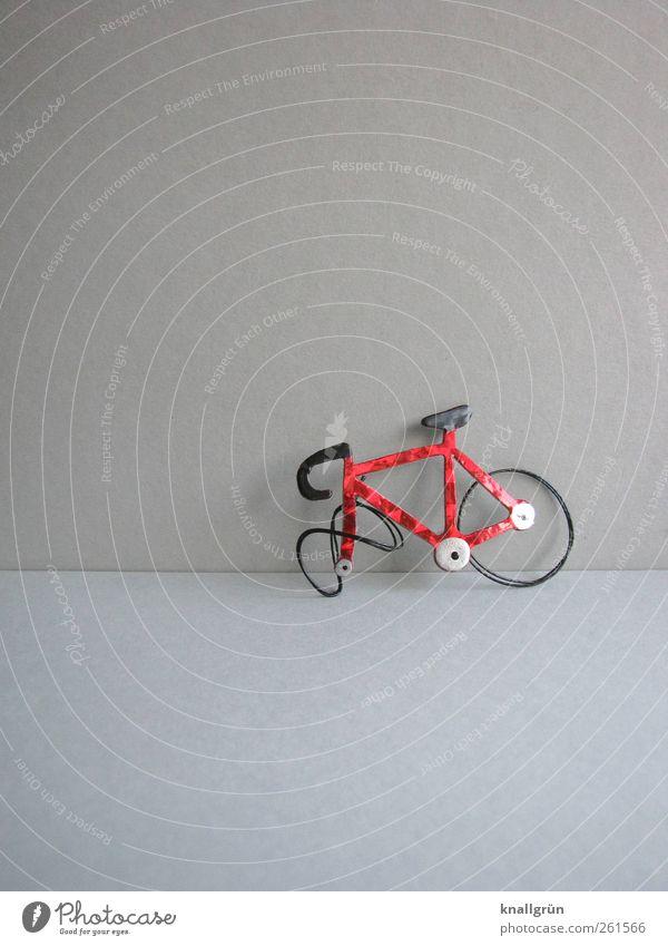 Crash Freizeit & Hobby Verkehr Verkehrsmittel Verkehrsunfall Fahrrad Sport stehen glänzend kaputt grau rot schwarz Sicherheit Abenteuer Missgeschick Mobilität