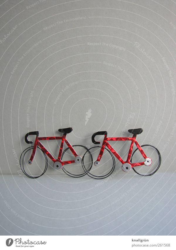 Pause Freizeit & Hobby Verkehr Verkehrsmittel stehen warten glänzend grau rot schwarz Gefühle Stimmung Freude Mobilität Sport stagnierend Rennrad 2 Farbfoto