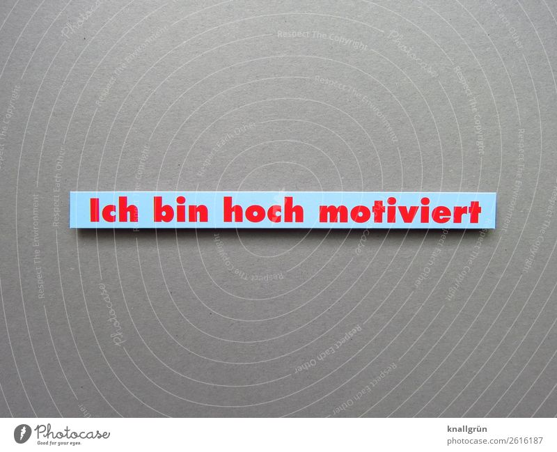 Ich bin hoch motiviert Motivation Kommunizieren Aktion Energie Kraft Training Sprache Buchstaben Wort Schriftzeichen Lateinisches Alphabet Letter Kommunikation