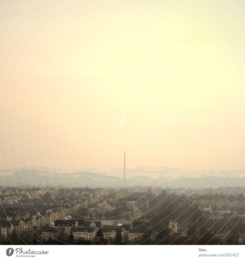 über den Dächern von... Himmel Wolkenloser Himmel Nebel Baum Hügel Chemnitz Stadt Stadtrand bevölkert Haus Gebäude Schornstein gelb rosa rot Farbfoto