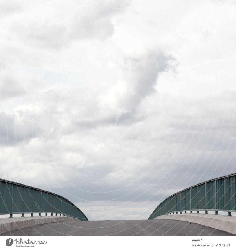 himmelwärts Natur Urelemente Himmel Wolken Klima Schönes Wetter Brücke Bauwerk Verkehrswege Straße Wege & Pfade Stein Beton Linie Streifen ästhetisch