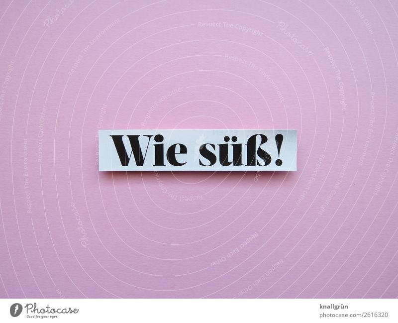 Wie süß! Schriftzeichen Schilder & Markierungen Kommunizieren rosa schwarz weiß Gefühle Freude Fröhlichkeit Begeisterung Tierliebe Interesse Überraschung schön