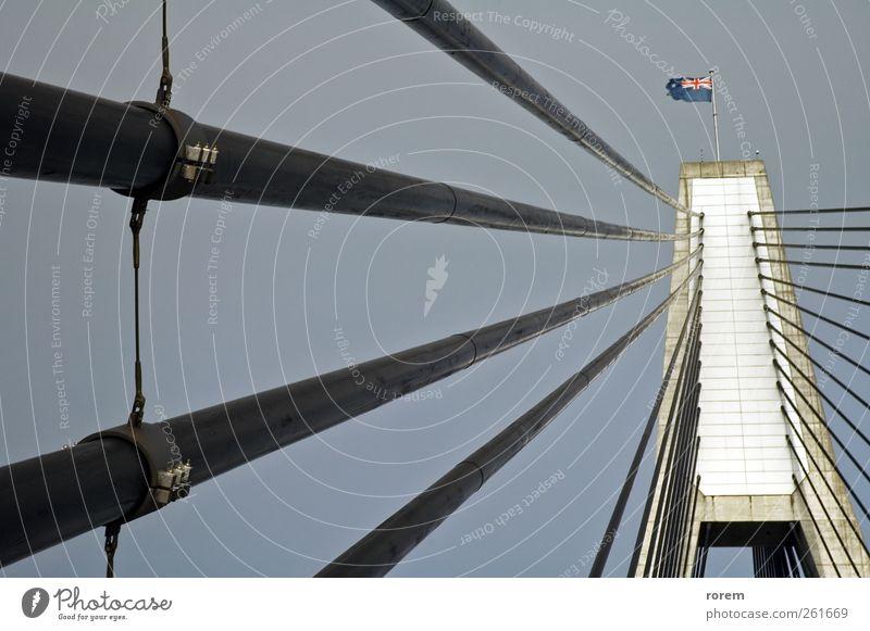 Anzac Brücke Detail Sydney Australien Architektur Verkehr Fahne modern Konstruktion Australier Pylon Kabel Detailaufnahme Gedeckte Farben Außenaufnahme