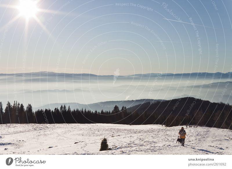 (sch)nee Natur Ferien & Urlaub & Reisen Winter Ferne Landschaft kalt Schnee Berge u. Gebirge Freiheit Nebel wandern Ausflug Tourismus Alpen Schönes Wetter
