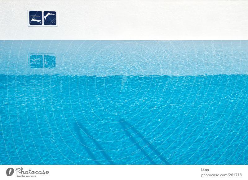 badeTag blau Wasser weiß Schwimmen & Baden Schilder & Markierungen Streifen Schwimmbad Wasserlinie