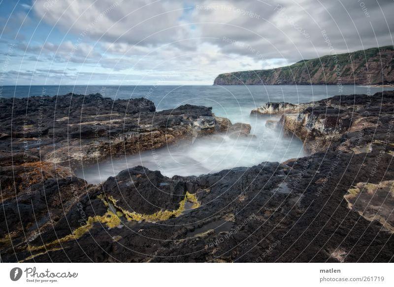 Açores Himmel Natur blau weiß grün Sommer Meer Wolken gelb Landschaft Küste Stein Horizont Urelemente Schönes Wetter Bucht