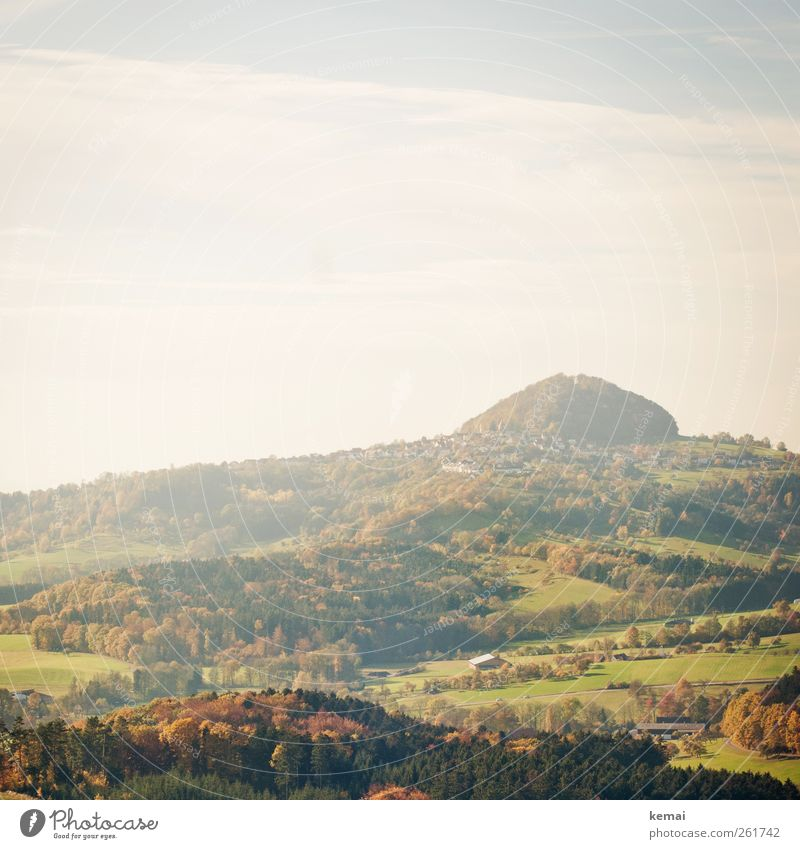 Herbst im November Umwelt Natur Landschaft Pflanze Himmel Wolken Sonne Sonnenlicht Schönes Wetter Baum Gras Sträucher Grünpflanze Wiese Feld Hügel Hohenstaufen