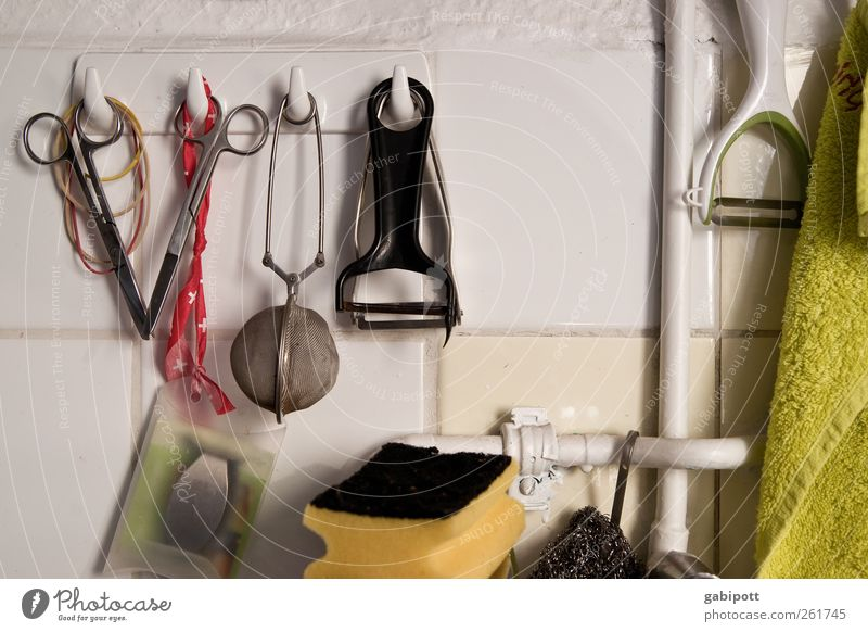 Küchenallerlei Geschirr Teesieb Schere Sieb Schwamm Dinge hakenleiste hängen authentisch Stadt Ordnungsliebe Reinlichkeit Sauberkeit einzigartig Leben