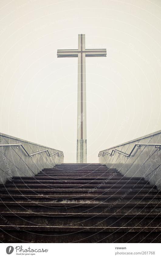 hinauf Bauwerk Treppe gigantisch oben Hoffnung Glaube demütig Beginn anstrengen Religion & Glaube Schwerpunkt Ziel hoch aufsteigen Treppengeländer Mittelpunkt