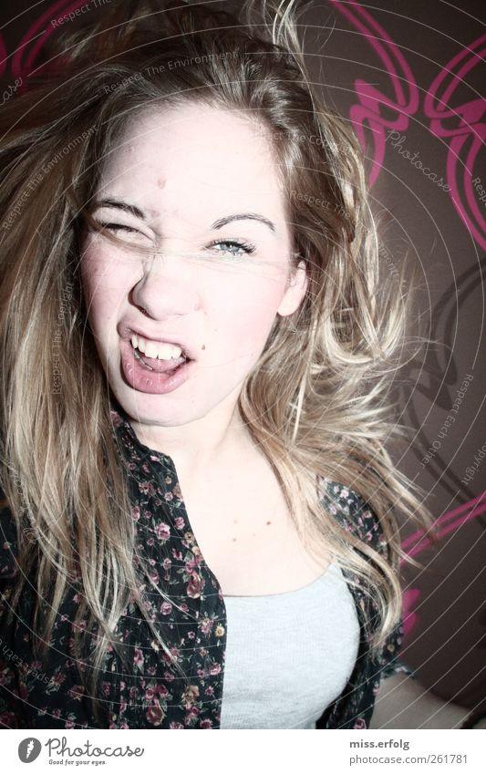 Woas hoast gesoagt ? Jugendliche blau Junge Frau Gesicht Auge feminin Bewegung Haare & Frisuren außergewöhnlich Lifestyle verrückt einzigartig Tapete Irritation chaotisch dumm