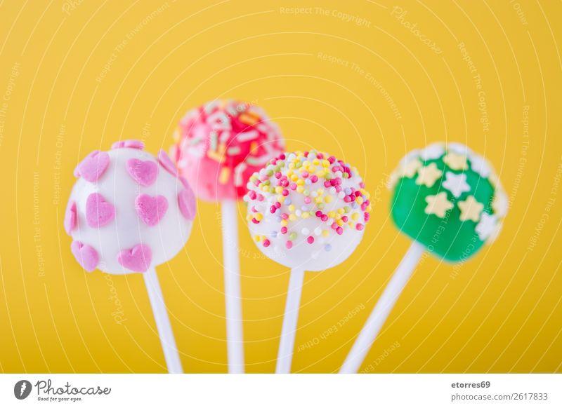 Farbe weiß Foodfotografie Freude Lebensmittel gelb rosa hell Dekoration & Verzierung süß Kuchen Backwaren Bonbon Dessert Ball Schokolade
