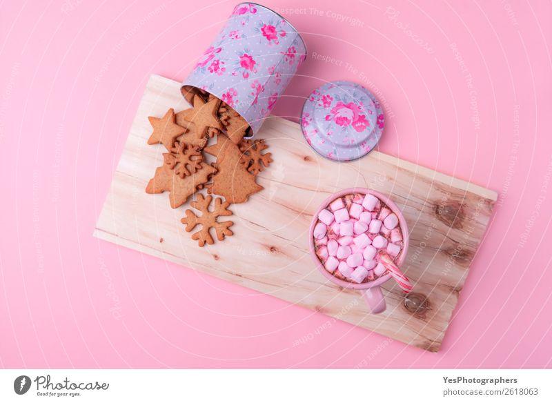 Amerikanische Winterbonbons auf rosa Hintergrund Dessert Getränk Kakao Lifestyle Freizeit & Hobby Feste & Feiern Erntedankfest Weihnachten & Advent klein