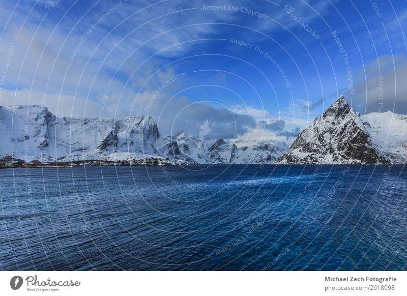 Blick auf den schönen Fjord auf den lofoten Inseln Ferien & Urlaub & Reisen Ausflug Meer Winter Schnee Berge u. Gebirge Klettern Bergsteigen Umwelt Natur